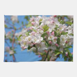 Crab apple blossom tea towel