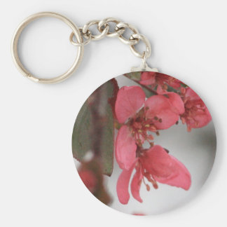 Crab Apple Blossoms Basic Round Button Key Ring