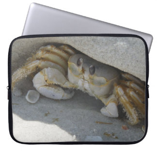 Crab at the beach close-up laptop sleeve