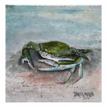 crab baby blue beach square modern art painting posters