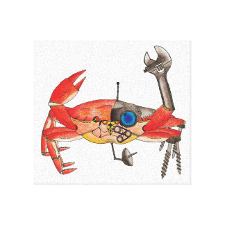 Crab-Bot Stretched Canvas Print