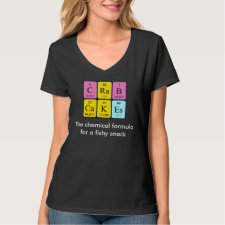 Periodic table Crab Cakes - the chemical formula for a fishy snack shirt