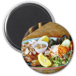 Crab Claws Lemons Salads Seafood Platters 6 Cm Round Magnet