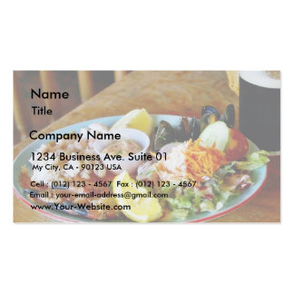 Crab Claws Lemons Salads Seafood Platters Business Cards