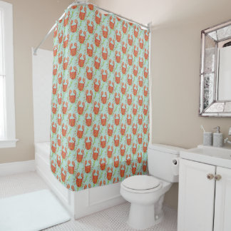 Crab, coral and turquoise shower curtain