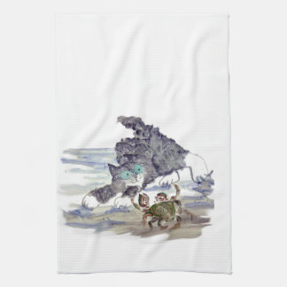 Crab Dancing - Kitten and Crab Tango Tea Towel