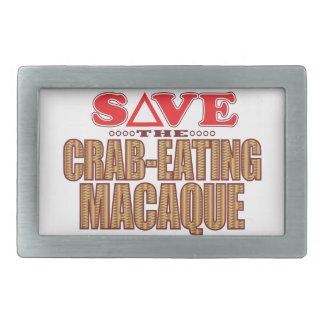 Crab-Eating Macaque Save Rectangular Belt Buckle