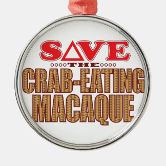 Crab-Eating Macaque Save Silver-Colored Round Decoration