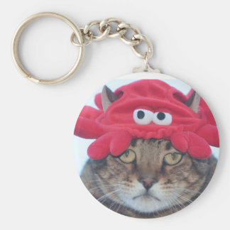 Crab face basic round button key ring