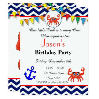 Crab illustration invitation