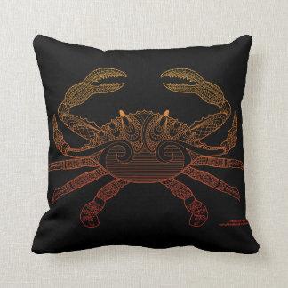 Crab Nautical Art Orange Ombre Black Chevron Throw Pillow