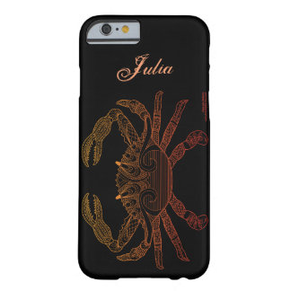 Crab Nautical Art Orange Ombre Black Name Template Barely There iPhone 6 Case