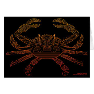 Crab Nautical Art Outline Orange Ombre Black Card