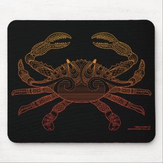 Crab Nautical Art Outline Orange Ombre Black Mouse Pad