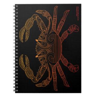 Crab Nautical Art Outline Orange Ombre Black Notebooks