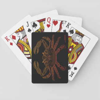 Crab Nautical Art Outline Orange Ombre Black Playing Cards