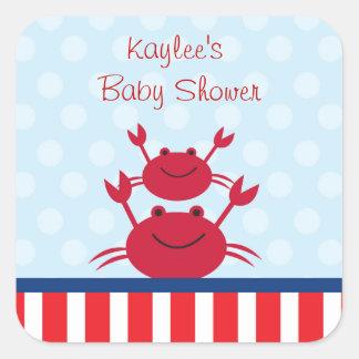 Crab Nautical Favor Stickers