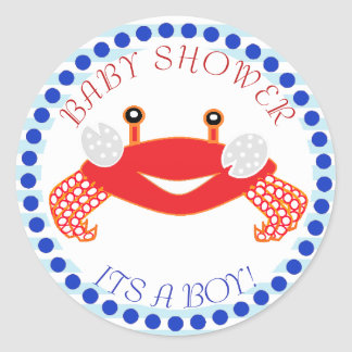 Crab Nautical Themed Baby Shower Stickers