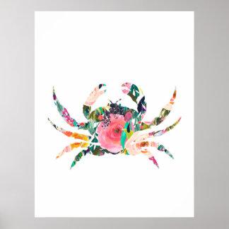 Crab nautical wall print nursery art