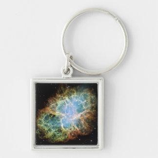 Crab Nebula Silver-Colored Square Key Ring