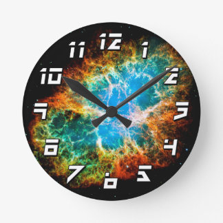 Crab Nebula Supernova Remnant Hubble Space Photo Round Clock