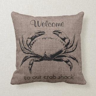 Crab Ocean Life  Burlap Linen Pillow