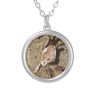 crab on the beach silver plated necklace