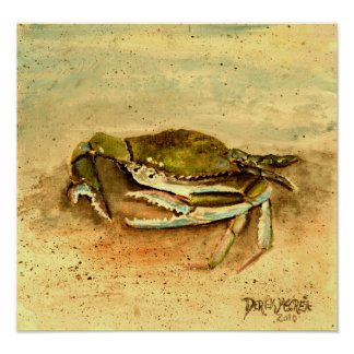 crab painting canvas art print
