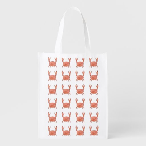 Crab pattern reusable grocery bags zazzle for Reusable t shirt bags