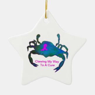 Crab Pink Ribbon Star Ornament Breast Cancer