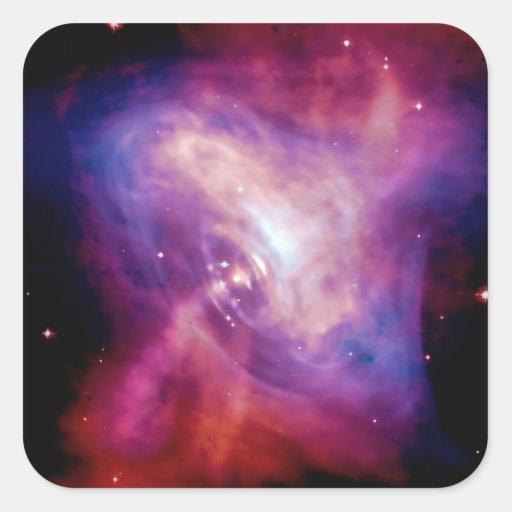 Crab Pulsar Time Lapse - Neutron Star Square Stickers
