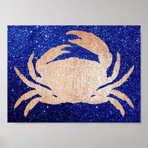 Crab Sea Ocean Black Rose Blue Navy Pink