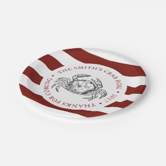 Crab | Seafood Boil Custom Red Striped Paper Plate