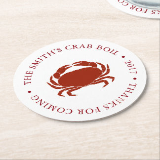 Crab   Seafood Boil Customized Round Paper Coaster