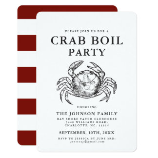 Crab   Seafood Boil Vintage Style Crab Invitations