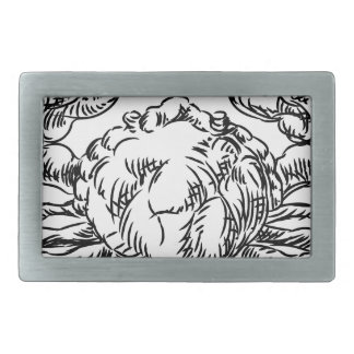 Crab Seafood Food Grunge Style Hand Drawn Icon Belt Buckle