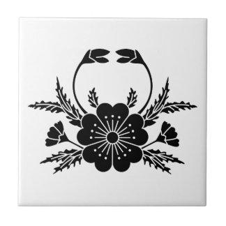 Crab-shaped cherry blossom (EDO) Small Square Tile