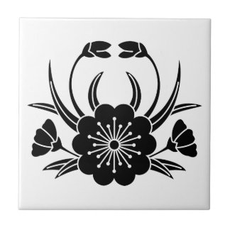 Crab-shaped cherry blossom small square tile