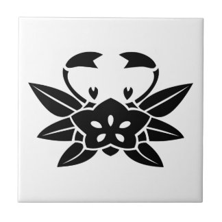 Crab-shaped gentian small square tile