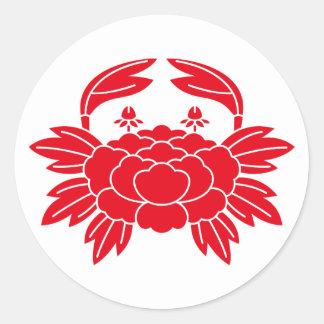 Crab-shaped peony round sticker