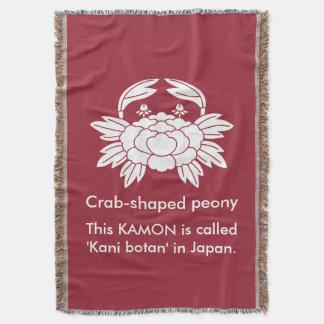 Crab-shaped peony throw blanket