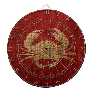 Crab Silhouette in Rustic Red Burlap Look Dartboard