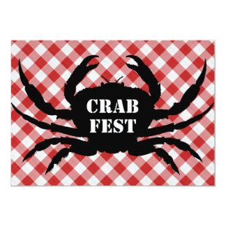 Crab Silo on Red & White Checked Cloth Crab Fest 13 Cm X 18 Cm Invitation Card