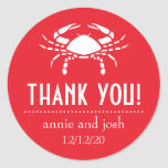 Crab Thank You Labels (Red) Round Sticker