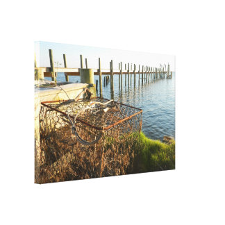 Crab Trap and Dock at Sunset Canvas Print