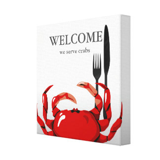 Crab Welcome Crabs Seafood Kichen Art Print Gallery Wrapped Canvas