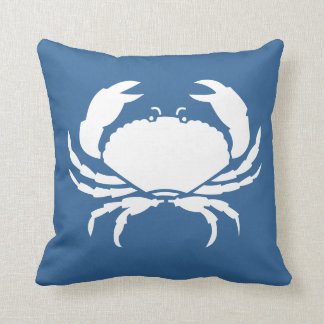 CRAB WHITE on  blue pillow