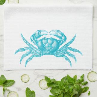Crab Woodblock Print Artisan Style Aqua Blue Tea Towel