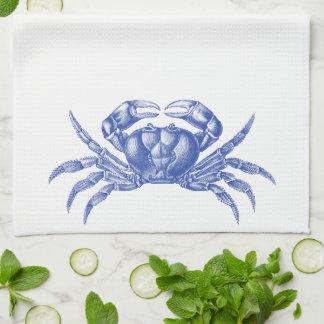 Crab Woodblock Print Artisan Style Nautical Blue Tea Towel