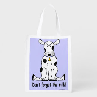 Crabby cranky cow on reusable grocery tote!
